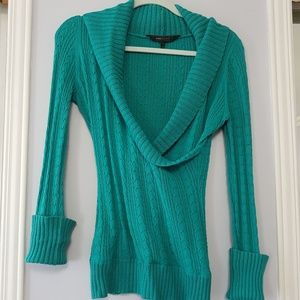 BCBG Teal Heavy-Knit Cuffed Sweater Size M
